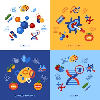 Genetic engineering gmo technology icons set