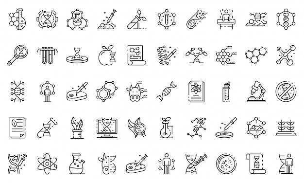 Genetic engineering icons set, outline style