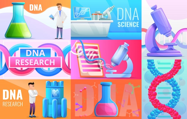 Genetic engineering illustration set on cartoon style