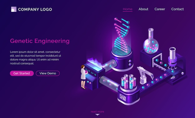Genetic engineering isometric landing website