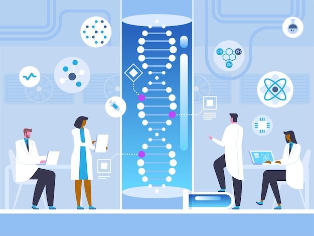 Genetic engineering laboratory, scientific research futuristic medicine, medical innovation dna test