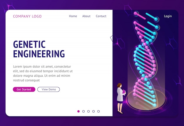 Genetic engineering landing page, dna hologram