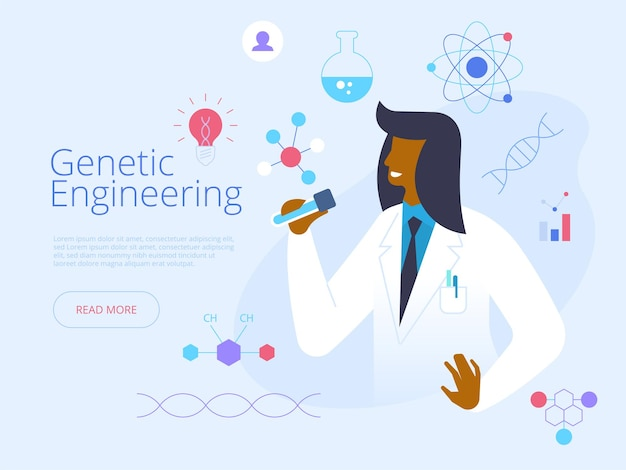 Genetic engineering landing page vector template. futuristic science idea with flat illustrations