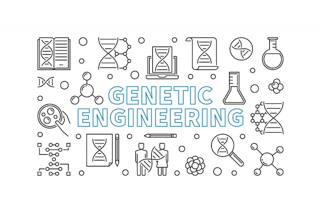 Genetic engineering outline horizontal banner.