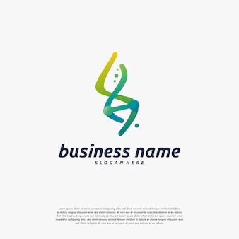 유전자 로고 디자인 벡터, dna 나선 로고 템플릿 아이콘