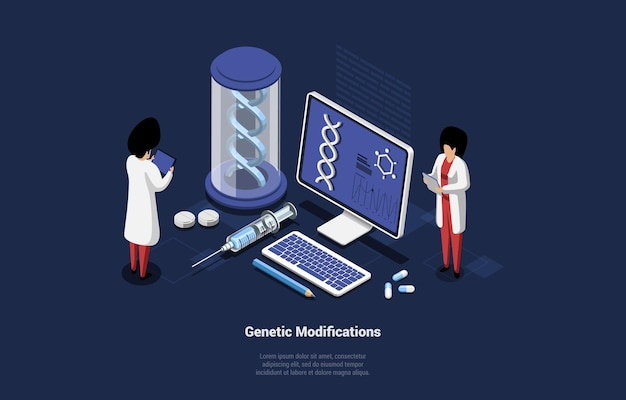 Genetic modifications concept illustration in cartoon 3d style.