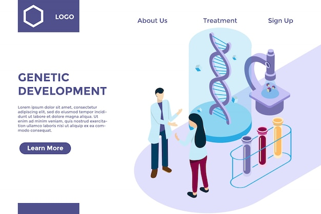 Genetic research with dna helix in isometric illustration style, biotechnology development