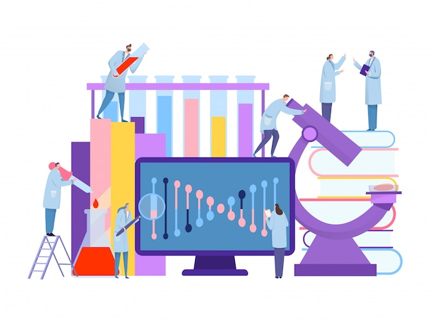 Genetic science laboratory concept, nucleotide research,  illustration. doctors man and woman conduct experiments.