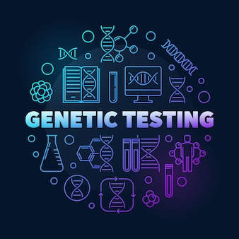 Genetic testing vector round colorful outline illustration