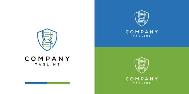 Генетический с щитом логотип дизайн негативное пространство