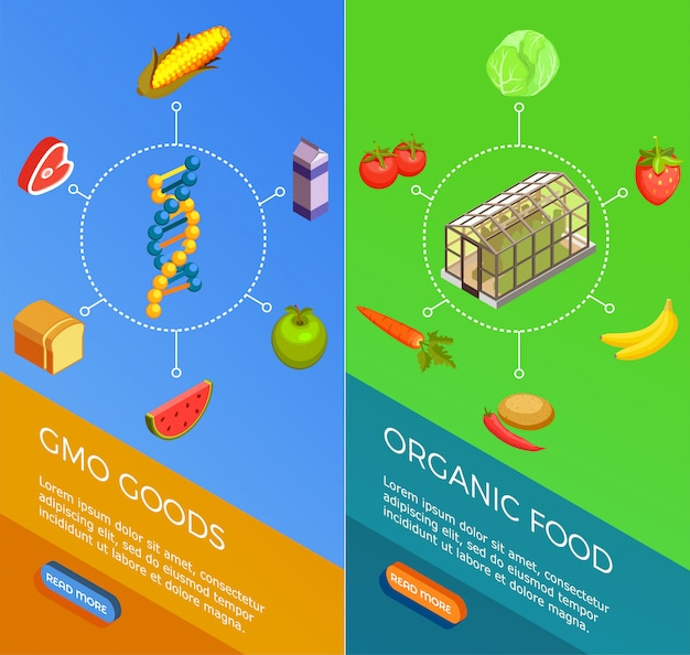 Genetically modified organisms isometric banners
