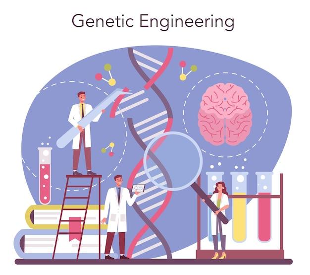 유전학 개념. 공학 및 과학 기술. 과학자들은 분자 구조로 작업합니다. 유전 실험 및 수정.