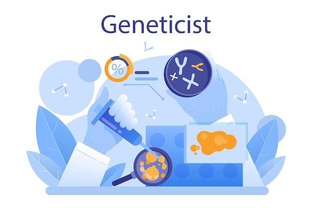 유전 학자 개념입니다. 의학 및 과학 기술입니다. 과학자는 dna 분자 구조로 작업합니다. 유전자 검사 분석 및 유전 질환 예방. 평면 벡터 일러스트 레이 션