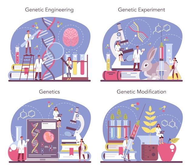 유전학 개념 만화 스타일의 그림 설정