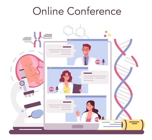 유전 학자 온라인 서비스 또는 플랫폼. 의학 및 과학 기술. 유전 실험 및 수정. 온라인 회의. 벡터 일러스트 레이 션