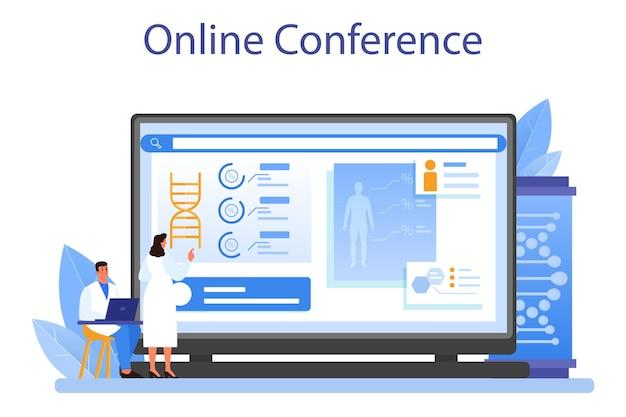遺伝学者のオンラインサービスまたはプラットフォーム。医学と科学技術。科学者はdna分子構造を扱います。オンライン会議。フラットベクトルイラスト