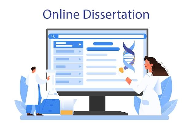 유전학자 온라인 서비스 또는 플랫폼. 의학 및 과학 기술입니다. 과학자는 dna 분자 구조로 작업합니다. 온라인 논문. 평면 벡터 일러스트 레이 션
