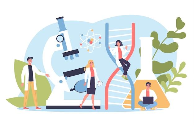 유전학 웹 배너 개념입니다. 의학 및 과학 기술. 과학자들은 분자 구조로 작업합니다.