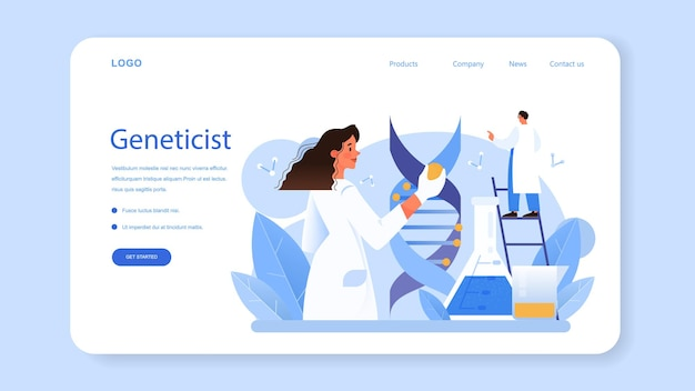 Geneticist web banner or landing page. medicine and science technology. scientist work with dna molecule structure. genetic test analysis and genetic disease prevention. flat vector illustration