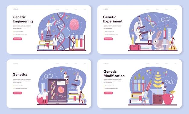 유전 학자 웹 배너 또는 방문 페이지 세트