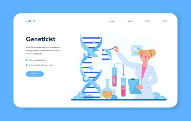 遺伝学者のwebバナーまたはランディングページ