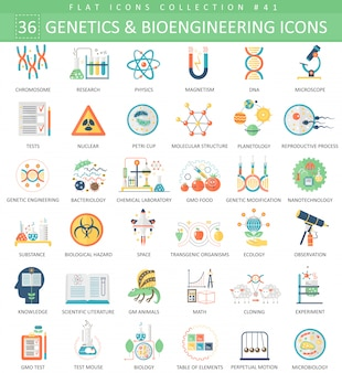 Genetics and bioengineering flat icons set