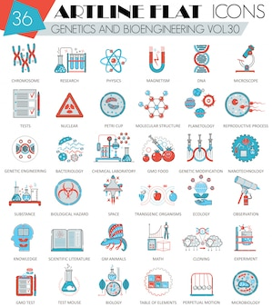 Genetics and bioengineering flat line icons set