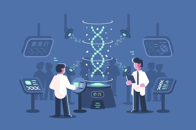 실험실 그림에서 dna를 연구하는 유전학 의사