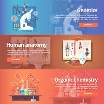 遺伝学。ヒトゲノム。人間の解剖学。解剖学的アトラス。有機化学。生化学。化学実験室。生命の科学。教育と科学のバナーを設定します。概念。