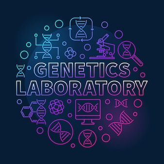 Genetics laboratory vector circular colored line illustration