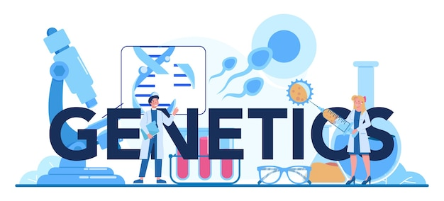 Типографский заголовок генетики. медицина и наука технологии.