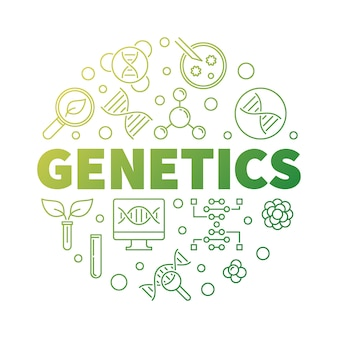 Genetics vector round biology green outline illustration