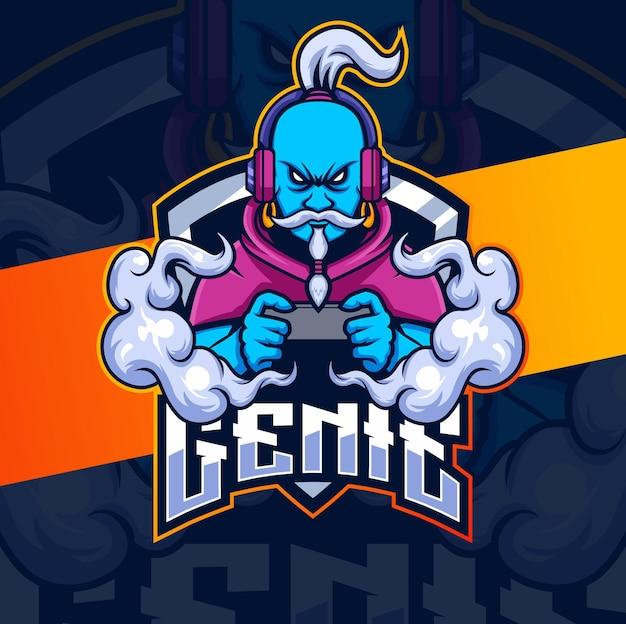 로고 게임 및 e스포츠를 위한 genie 캐릭터 마스코트 디자인