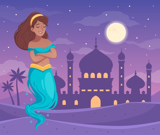 Genie character  with arabic night symbols cartoon
