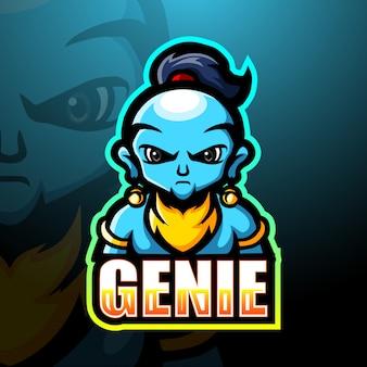 Genie mascot esport illustration