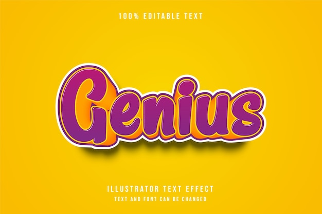 Genius,3d editable text effect purple gradation yellow comic style