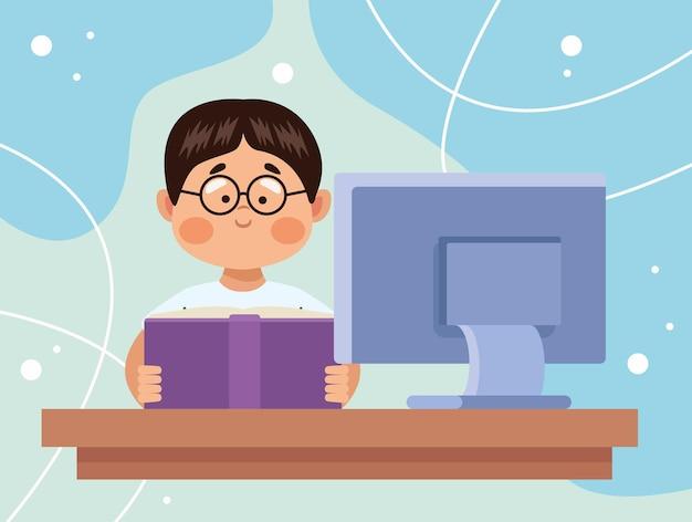 Genius schoolboy reading scene