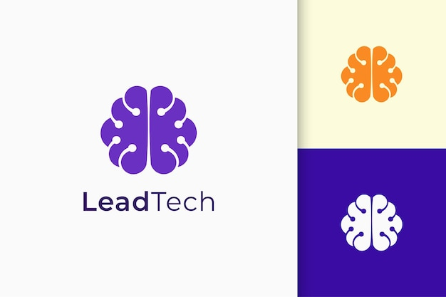 Genius or smart logo in brain shape represent knowledge and innovation