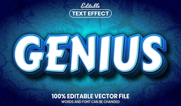 Genius text, font style editable text effect