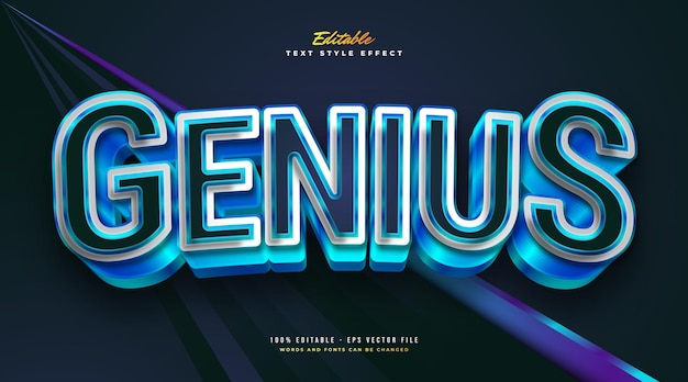 Genius text style in white and blue with 3d bold effect. editable text style effect