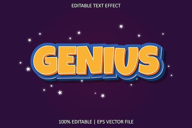 Genius with cartoon style editable text effect