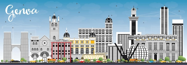 Genoa italy city skyline with color buildings and blue sky. vector illustration. business travel and tourism concept with modern architecture. genoa cityscape with landmarks.