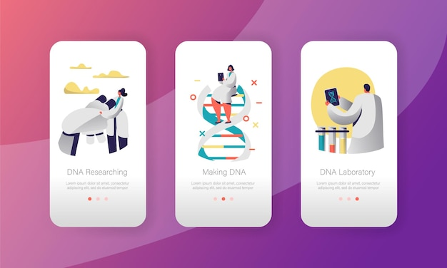 Genome dna experimental laboratory character mobile app page onboard screen set.