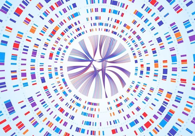ゲノムインフォグラフィックdnaシーケンスの視覚化遺伝子マッピング遺伝子バーコードの概念