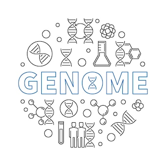 Genome  round  illustration in thin line style