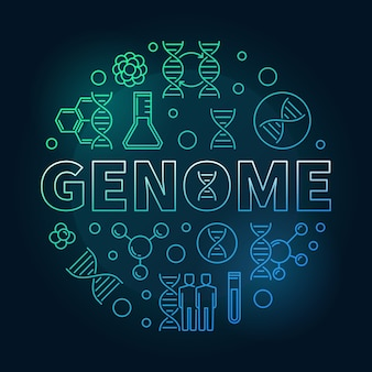 Genome vector round concept colorful linear illustration
