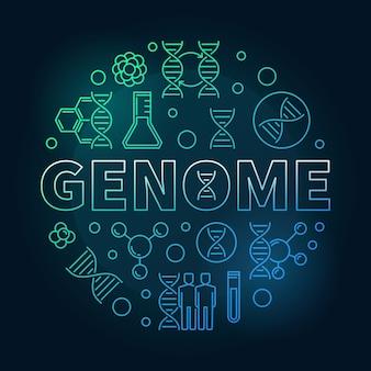 Геном вектор раунд концепция красочные линейная иллюстрация