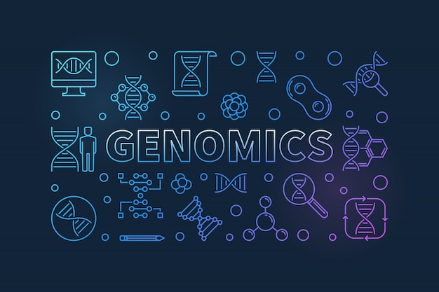 Genomics vector colorful line banner