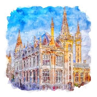 Gent 벨기에 수채화 스케치 손으로 그린 그림