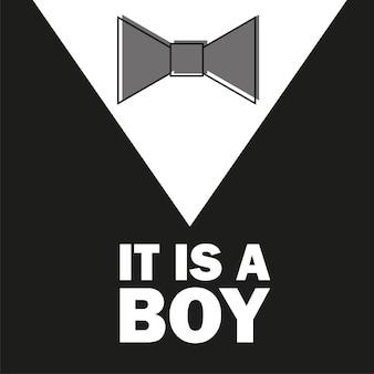 젠틀맨. 나비 넥타이 - 베이비 샤워 소년 - 작은 남자 초대장 템플릿 벡터 - 그림